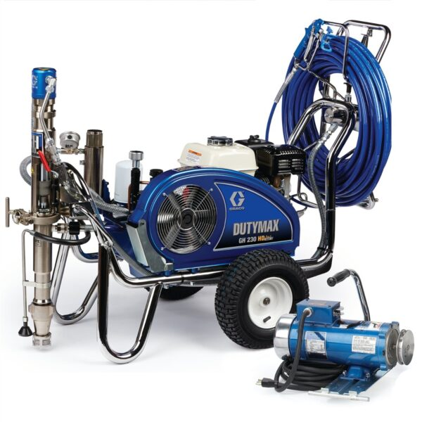 dutymax gh 230 hd procontractor series convertible gas hydraulic airless sprayer with electric motor kit(24w963)